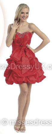 A-line Sweetheart Taffeta Short/Mini Red Pick-Ups Prom Dress