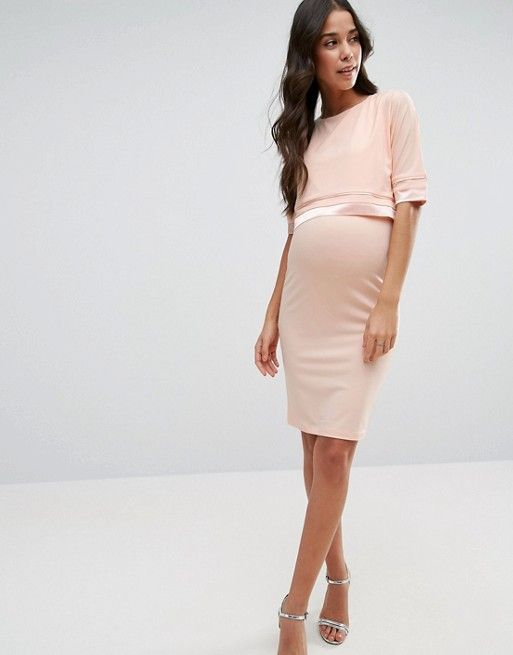 "$49.00 + Free Shipping & Returns on ASOS.com (March 21) | ASOS Maternity NURSING Double Layer Dress with Satin Trim. This one is nursing-friendly! The color says ""nude,"" but it looks blush pink on my screen. So maybe it won't work. Maybe it's my computer..."
