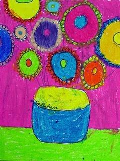 Sunflowers, oil pastel