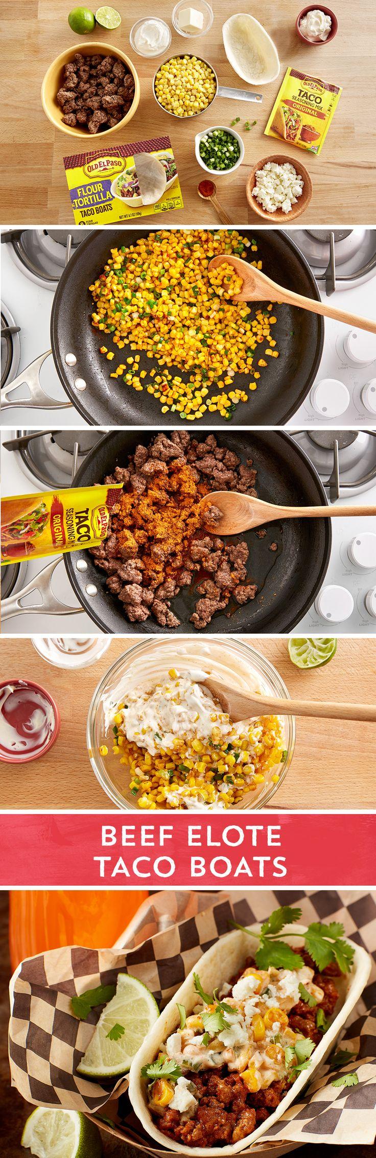 The flavors of traditional grilled Mexican street corn (elote) and beefy tacos combine in Old El Paso Taco Boats™ for a fun riff on a classic. Beef cooked with Old El Paso™ taco seasoning makes the perfect base for these sweet, spicy, cheesy tacos. Sauted corn, green onions, and cayenne mix with mayo, sour cream and lime juice for the perfect topping. Serve with lime wedges and a sprinkle of queso fresco for authentic elote flair.