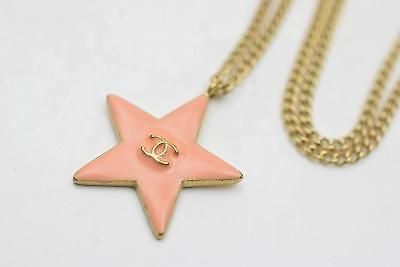 Authentic  Chanel Pendant Necklace Salmon Pink Star CC 72666