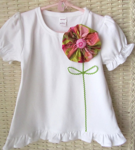 little girls T-shirt with fabric flower in raspberry pink, peach, and lime green