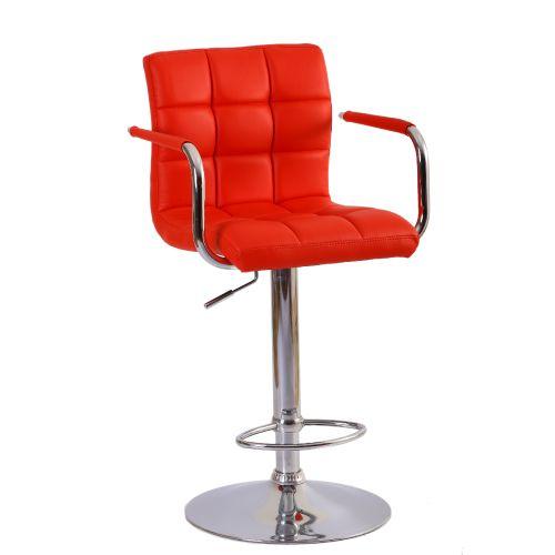 Deri döşemeli hidrolik sistem kromajlı ayaklı kollu bar sandalyesi siyah beyaz ve kırmızı döşeme seçenekleri mevcuttur. deri döşeme bar sandalye fiyatları..