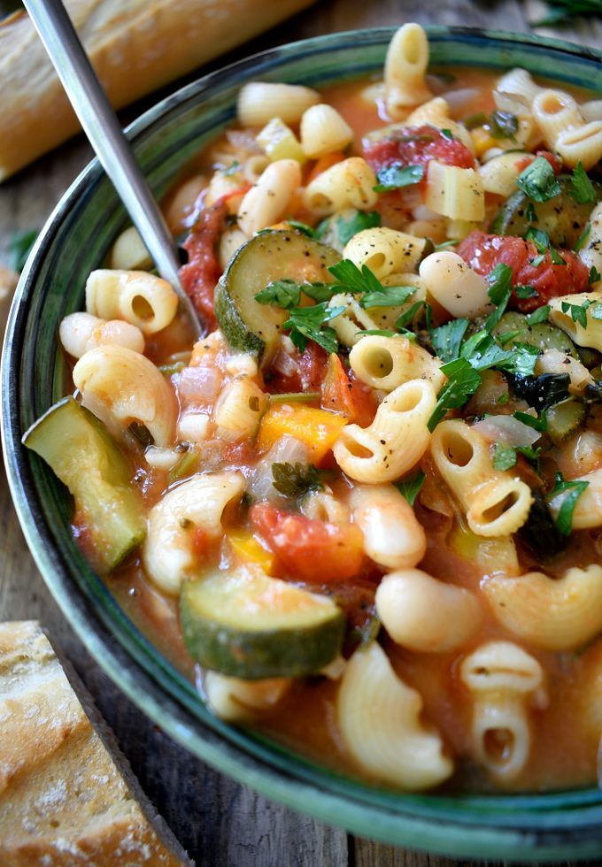 Vegetarian pasta fagioli is a simple, rustic Italian bean and pasta soup that's extremely easy to make and can be on the table in just about 30 minutes.