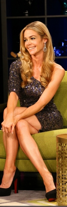 Who made Denise Richards' black platform pumps and sequin short sleeve one shoulder dress that she wore in New York?