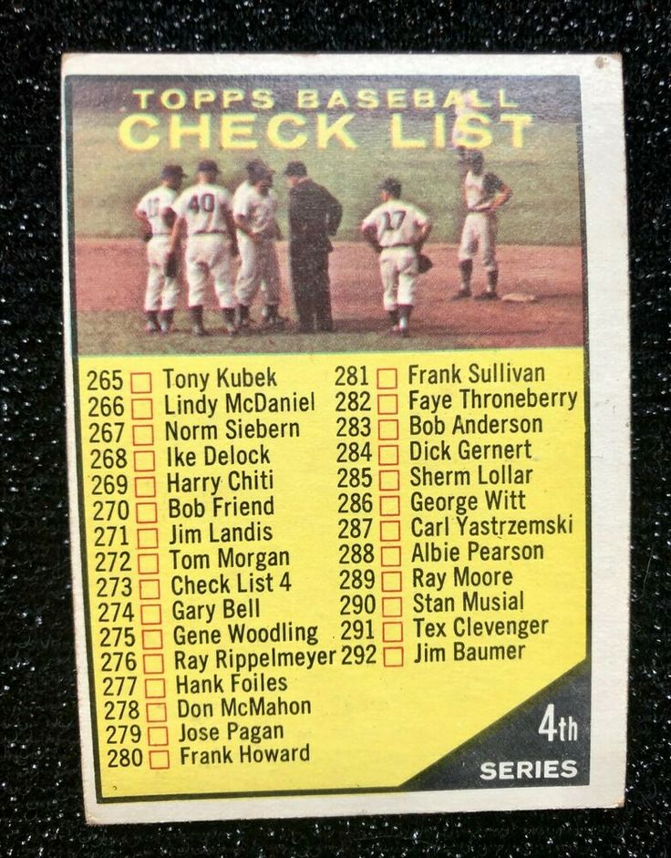 1961 topps baseball checklist 273version features