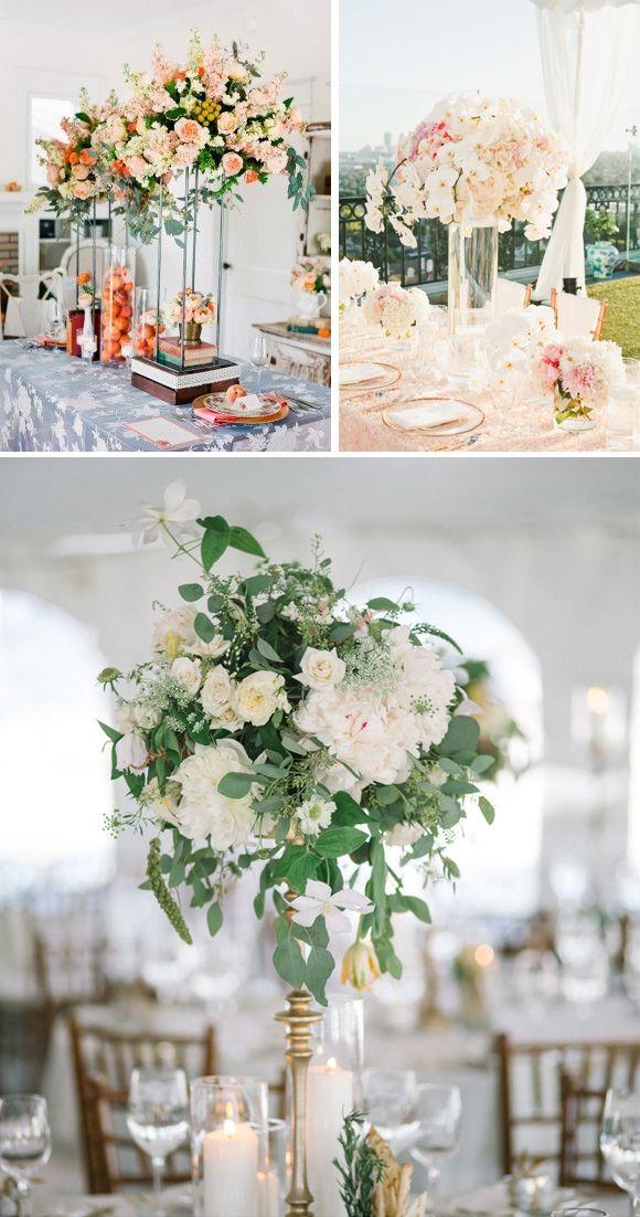 Centros de mesa altos para bodas #weddingdecor #weddingideas #decoracionbodas