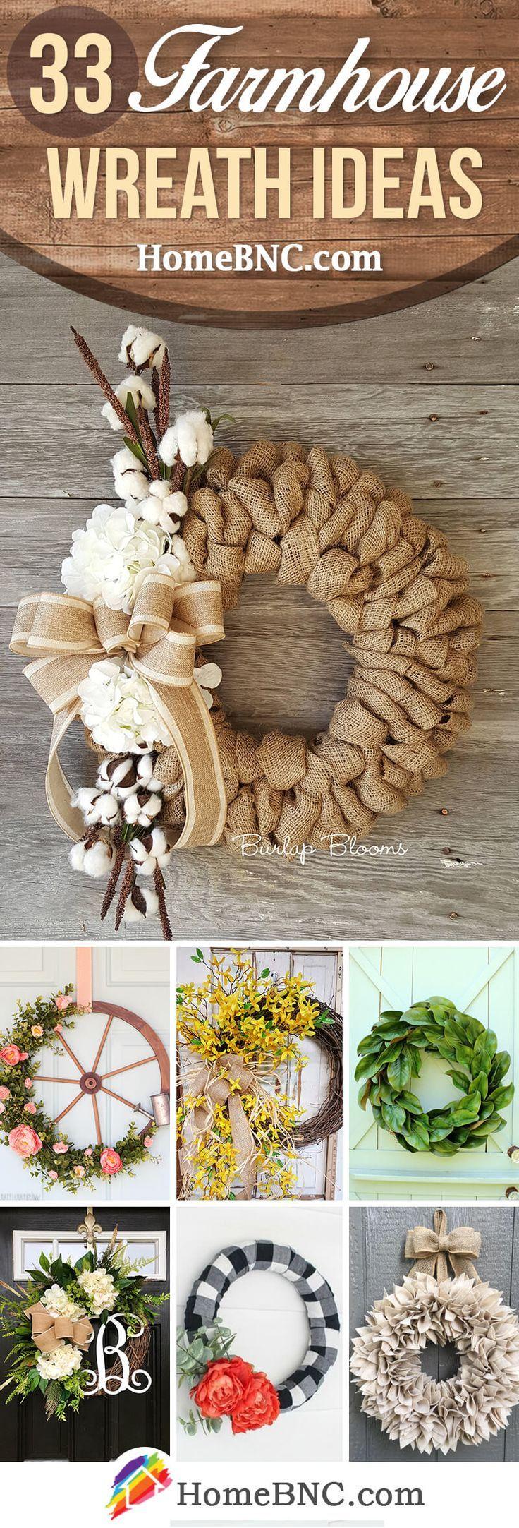 33 Natural Rustic Farmhouse Wreath Ideas To Welcome Guests With Style Farmhouse Wreath Diy Farmhouse Wreath Diy Wreath