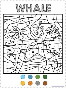color by number ocean animals coloring pages. Black Bedroom Furniture Sets. Home Design Ideas
