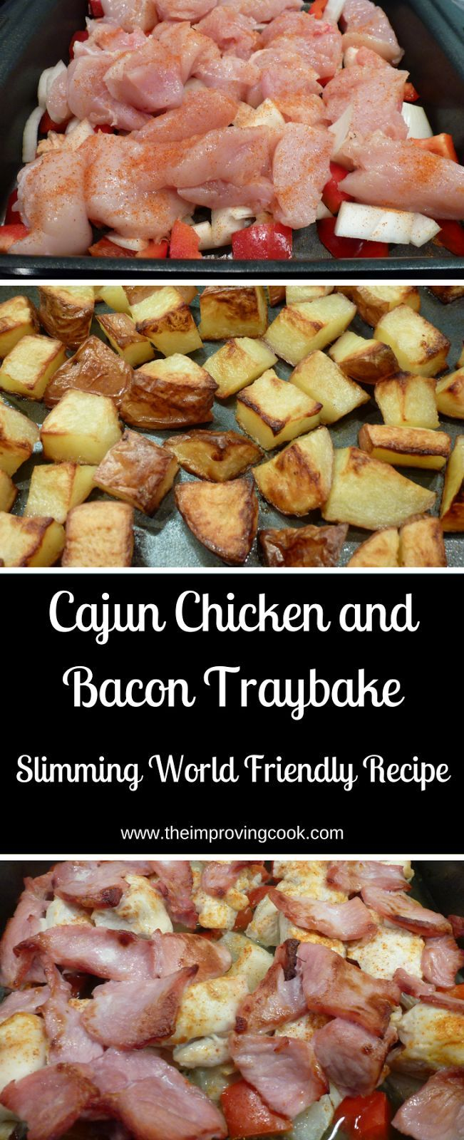 Cajun Chicken and Bacon Traybake- great for a quick weekenight dinner and Slimming World Friendly too!