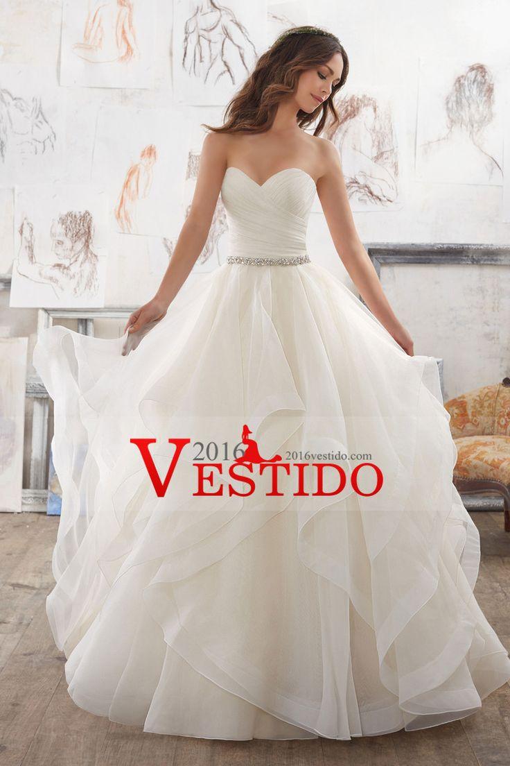 2017 vestidos de novia de una línea vestido con volantes blusa con los granos de organza
