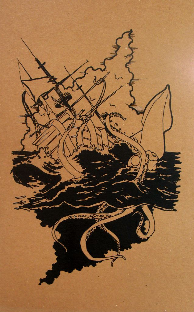 giant squid destroying a ship at sea...    one colour screen print on cardboard