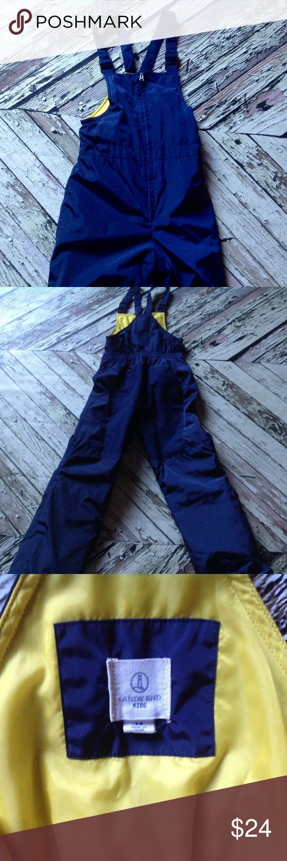 Lands End Kid snow bib unisex Sz 12 navy with yellow lining. Like new condition. Lands end make youth clothing roomier so kids can wear it longer. Unisex Lands' End Bottoms