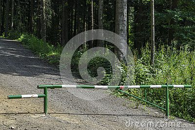 Barrier for cars in Entrance to the forest in Poland . Europe.