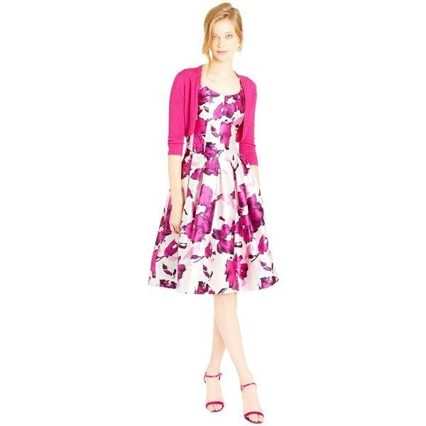Oscar de la Renta Cashmere Silk Bolero ($950) ❤ liked on Polyvore featuring outerwear, jackets, oscar de la renta jacket, pink silk jacket, cropped bolero jacket, silk bolero and shiny jacket