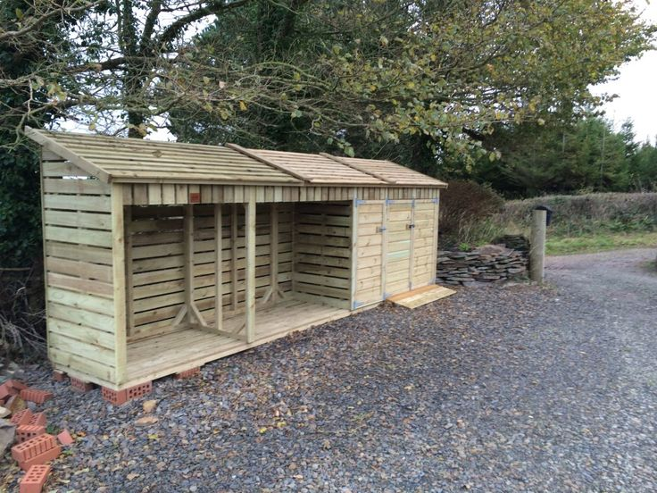 Large Log Store With Bin Cupboards, store your fuel, wheelie bins and recycling boxes in one handy place!  www.wooden-workshop.co.uk