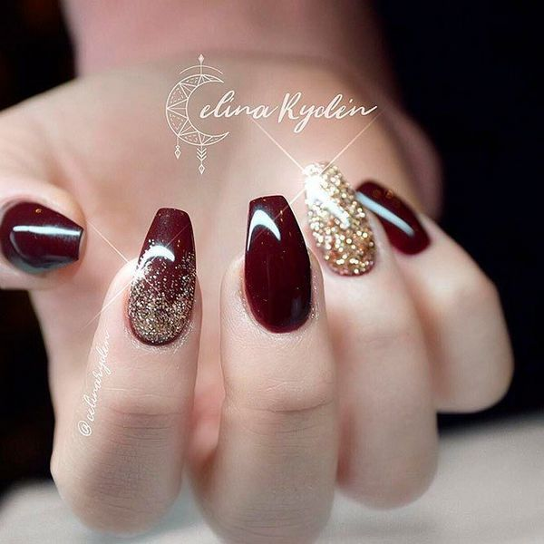Related Short Coffin Nails Designs Wine Nails Burgundy Nails