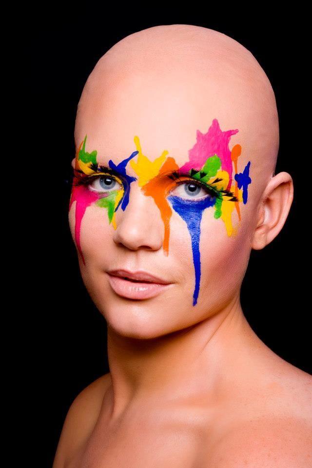 Bald Cap with paint splatter makeup