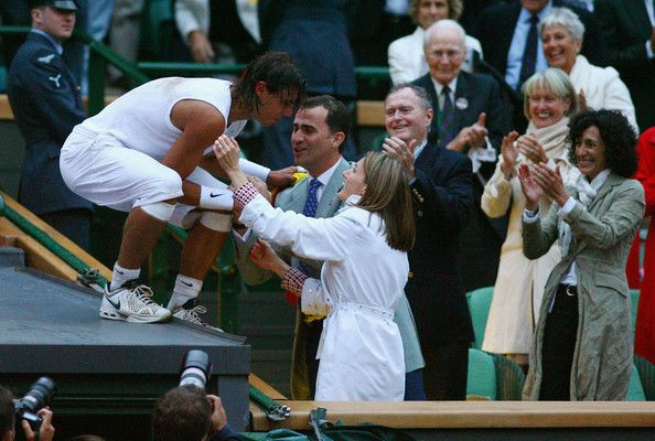 Queen Letizia of Spain Photos Photos - Rafael Nadal of Spain celebrates winning the Championship with Crown Prince Felipe of Spain and Princess Letizia of Spain during the men's singles Final match against Roger Federer of Switzerland on day thirteen of the Wimbledon Lawn Tennis Championships at the All England Lawn Tennis and Croquet Club on July 6, 2008 in London, England. - The Championships - Wimbledon 2008