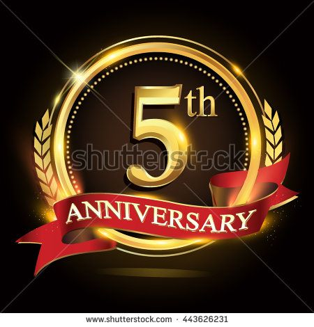 5th golden anniversary logo, 5 years anniversary celebration with ring and red ribbon, Golden anniversary laurel wreath design. - stock vector
