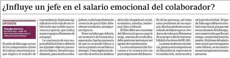 ¿Influye un jefe en el salario emocional del colaborador? - Claudia Herrera, docente PEG-USMP en Gestión Estratégica de la Comunicación Interna. Diario Gestión.