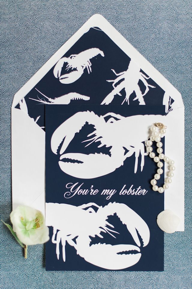Lobster bake wedding invitation | Eileen Meny Photography