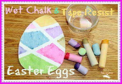 wet chalk & tape resist Easter eggs - a fun art activity for kids