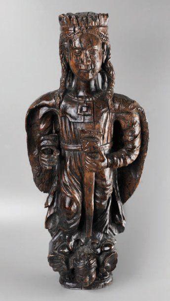 Sainte Catherine de Sienne #Statuette en #bois de #noyer. Art populaire, XVIIIe siècle. Haut. : 59 cm GB. Vendu aux #encheres le 05/06/09 par Delorme & Collin du Bocage