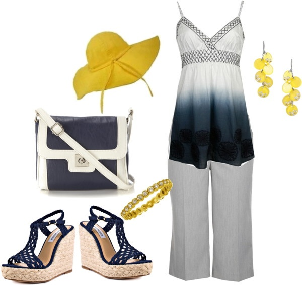 """blue/yellow"" by yiannab on Polyvore"