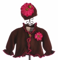 Lemon Loves Lime Brown Gerber Daisy Sweater and Hat Set