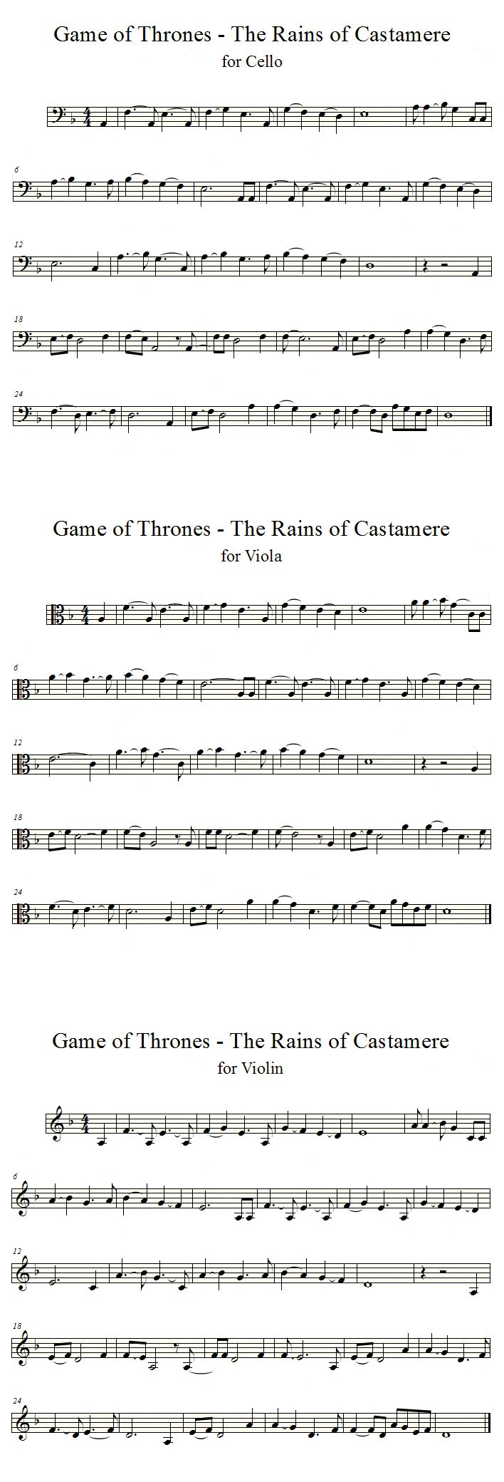 Rains of Castamere - GoT | Cello, Violin, Viola by averoxot.deviantart.com on @deviantART