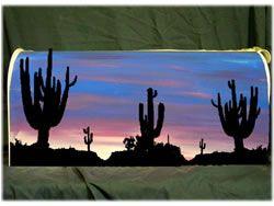 Hand Painted Mailboxes: Desert Scene Mailbox