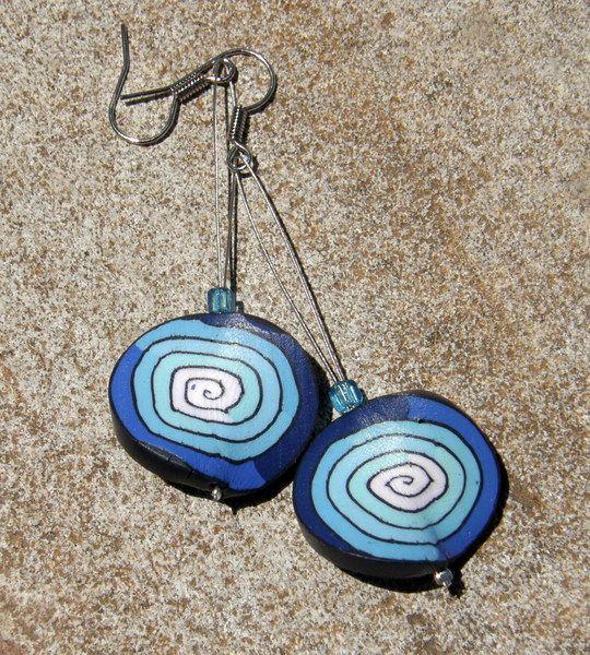 Ohrringe Keramik blau von SonnenRegen auf DaWanda.com