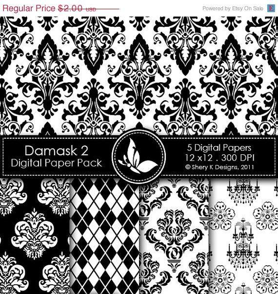 40% Off Printable Damask Paper Pack 2 - 5 Printable Digital scrapbooking papers - 12 x12 - 300 DPI