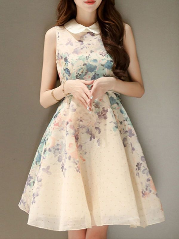 Floral Printed Delicate Doll Collar Skater-dress