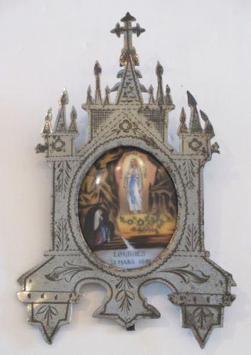 Antique 19thC French Miniature Painting Porcelain Lourdes Madonna Religious Icon   eBay