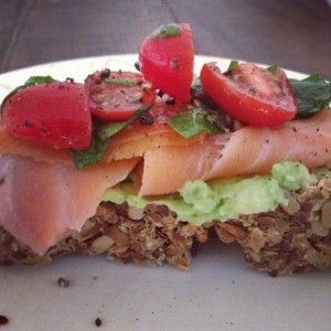Amazing Gluten-free, wheat-free bread topped with Avocado, salmon and Salsa