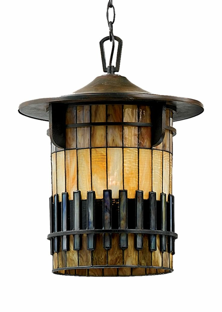 One Light Outdoor Hanging Art Glass Tiffany Glass Mission Style Contemporary