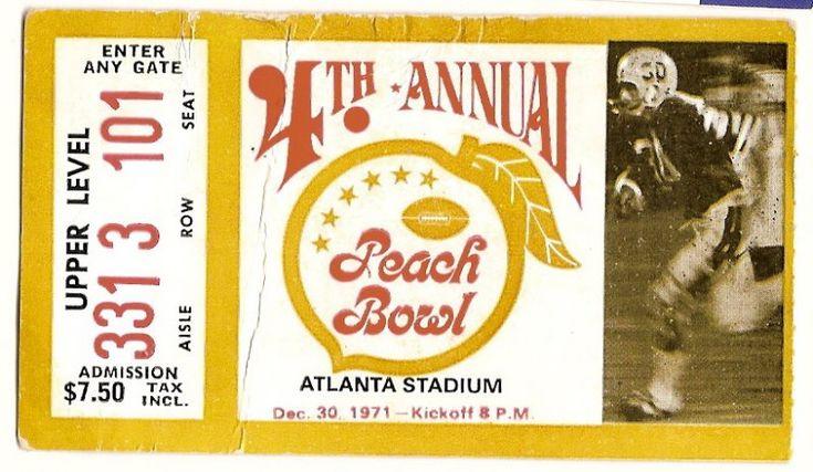 1971 peach bowl game ticket stub mississippi tech