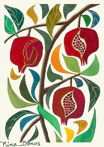 Florals: Pomegranate Trio, giclée print by Nina Bonos (also a beautiful quilt idea? @Beth ?)