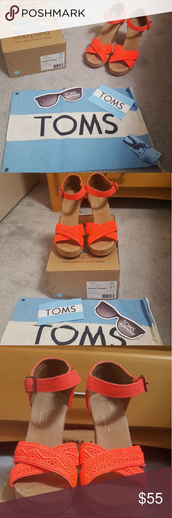 NIB Womens Tom's Strappy Crochet Wedges NEW IN BOX. SIZE 5 1/2.  Style: Strappy Wedge Color: Coral (neon like color) Cork platform/heel. Heel: 3 1/2 inches 1 inch front platform   Embroidered Tom's flag logo in back of shoe. Beautiful crochet design. Only tried on indoors, didnt work our for me. Comes with original Tom's flag shoe pouch, and inserts like sticker and eyewear flyer.  My loss will hopefully be your gain!  NO TRADES. OFFERS WELCOMED. BUNDLE AND SAVE ON SHIPPING!  PLEASE ASK ANY…