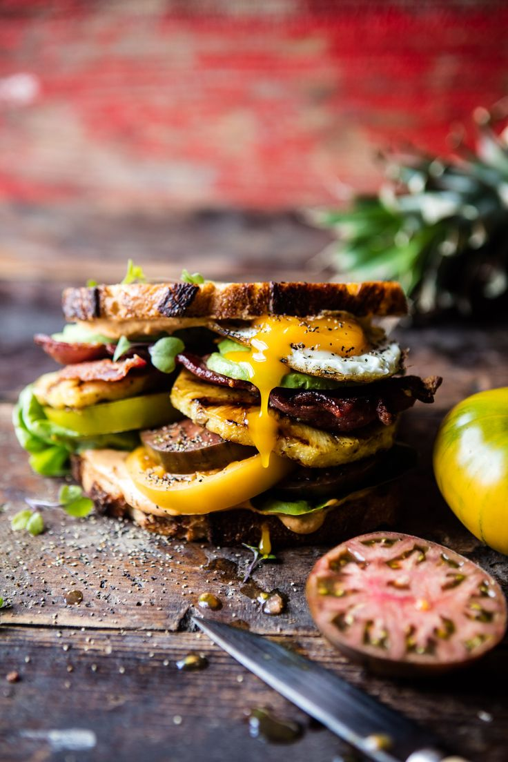 """Pineapple BLT w/ Sweet Chili Butter + Sriracha """"Mayo"""" - a simple spiced up version of the classic, perfect for energizing your Monday! @halfbakedharvest.com"""