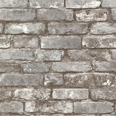Pewter Brickwork Exposed Brick Texture Wallpaper
