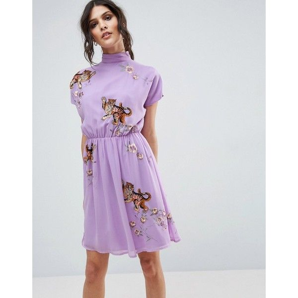 ASOS PREMIUM Open Back Tea Dress with Tiger Embroidery (45 AUD) ❤ liked on Polyvore featuring dresses, purple, embroidered dress, high neckline dress, high-neck dresses, purple dresses and woven dress