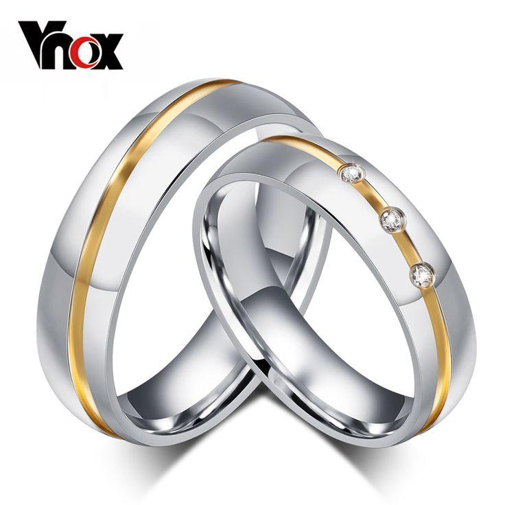 10 pcs/lots Grosir CZ pasangan wedding ring wanita pria stainless steel perhiasan menyediakan campuran ukuran