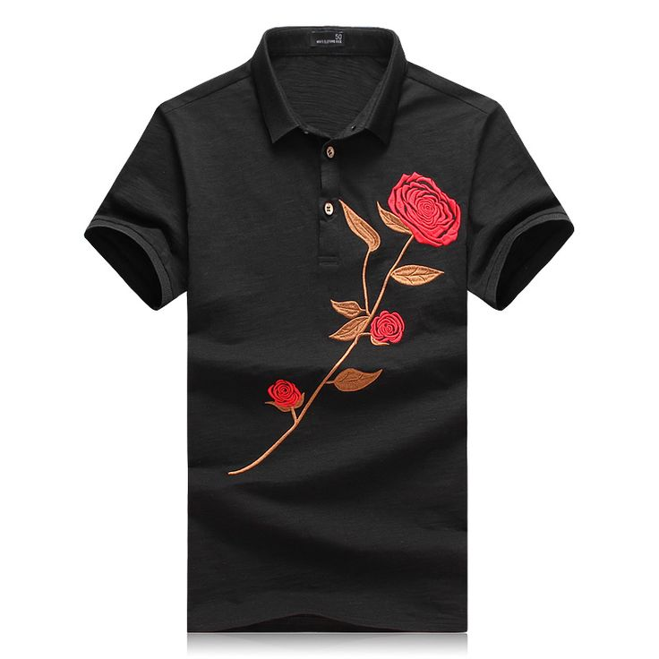 OSCN7 Black White Polo Homme 2017 Summer Latest Floral Print Leisure Polo Shirts Short Sleeve Mens Polo Shirt Brands M-4XL