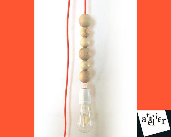 Lampe Baladeuse A Suspendre 6 Perles En Bois Brut O50mm Et O40mm Douille Porcelaine E27 Cable Electrique Textile Orange Fluo E Hanging Lamp Bulb Lamp