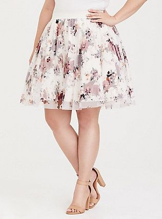 9461732ea54dad White Floral Tulle Challis Mini Skirt, SPACED DITSY TOSS, alternate ...
