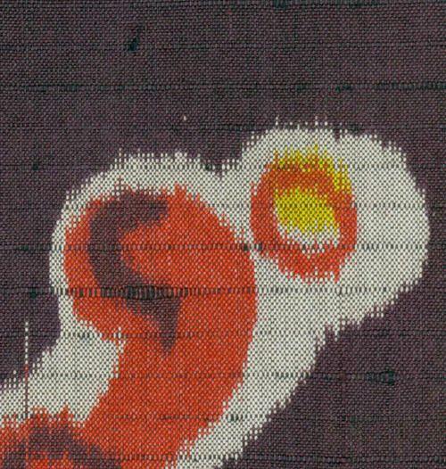 Detail of a fine meisen silk kimono featuring wave motifs.  Taisho Period (1912-1927), Japan.  The Kimono Gallery