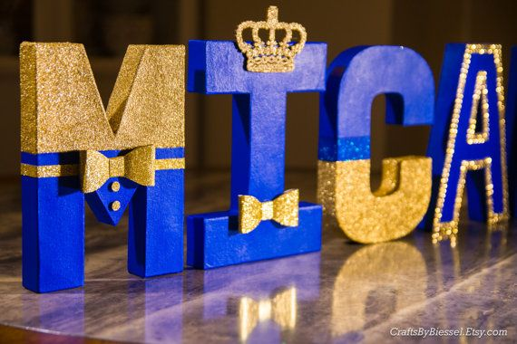 """Royal Blue and Gold Letters, Photo Prop, Centerpiece, 8"""" Freestanding Letter, Custom Block Letter, Baby Shower, Royal Prince, 1st Birthday"""